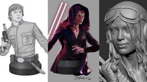 Trois concepts de futurs mini bustes pour Gentle Giant